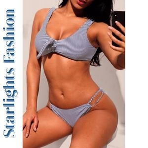 Navy White Pinstriped Bikini Swimsuit